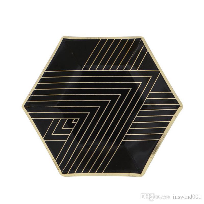 Oro negro Vajilla desechable establece papel de aluminio placa de papel tazas Servilletas tema Festival de fiesta de cumpleaños suministros de graduación