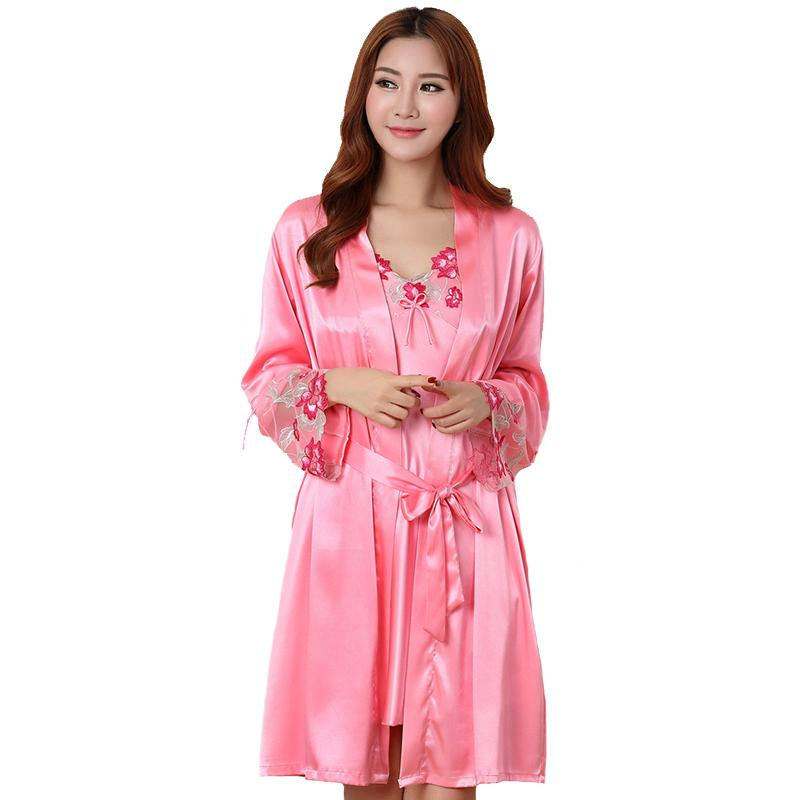 533313d63f 2019 Summer Lady Sleepwear Floral Trim Sexy Nightgown Pink Nightdress  Dressing Gown Female Satin Kimono Bathrobe Twinset Robe Set From Odelettu