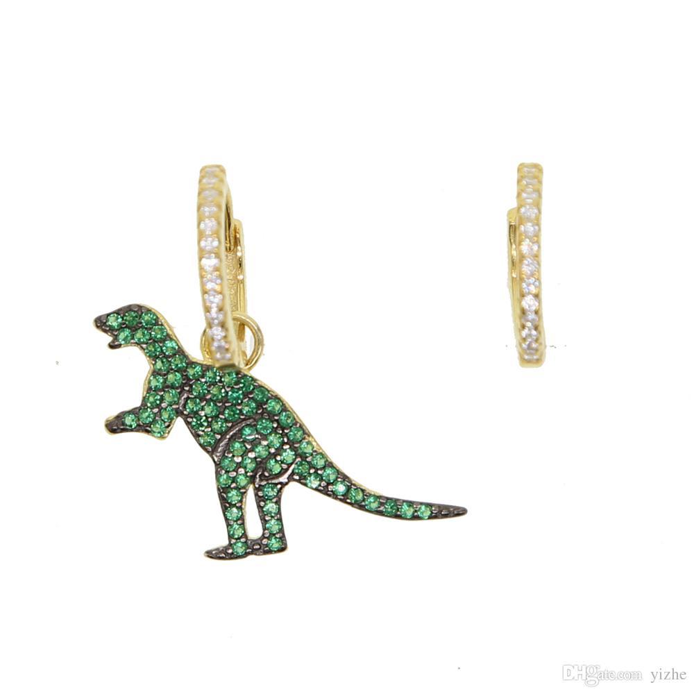 Boucles d'oreilles pendantes de charme Dinosaur en argent sterling 925 plaqué or micro pavé vert CZ Beaux bijoux pour femme et fille