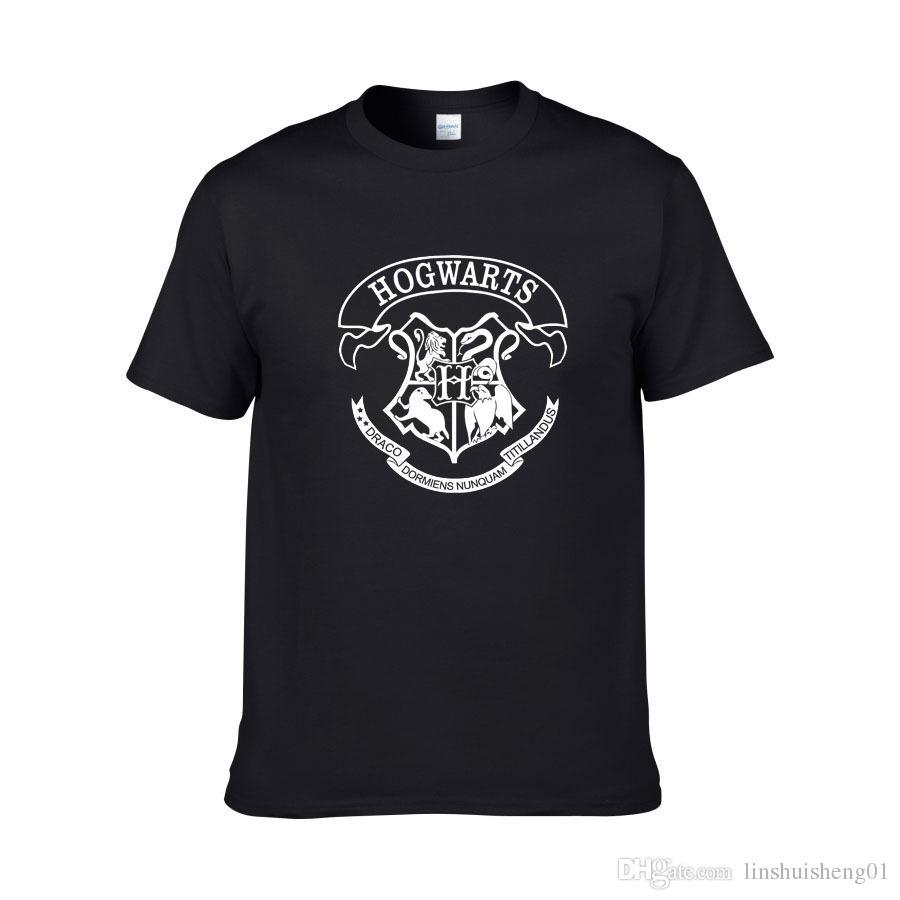 Горячие продажи мужчины футболка Гарри Поттер Хогвартс печати рубашки уникальный дизайн Гарри Поттер костюм прохладный магия школа Хогвартс футболка