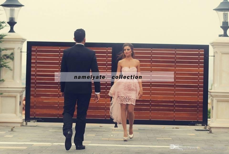 2018 Said Mhamad Pink Sheath Lace Appliques Hi-Lo Cocktail Dresses for Juniors Evening Dress Vestidos De Noiva Plus Size Appliques