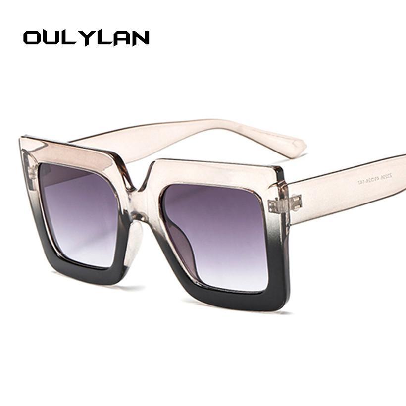 b0c5388af0b66 Compre Oulylan Oversized Óculos De Sol Dos Homens Das Mulheres Designer De  Marca De Luxo Gradiente Óculos De Sol Tons Retro Big Quadro Escudo Óculos  De Sol ...