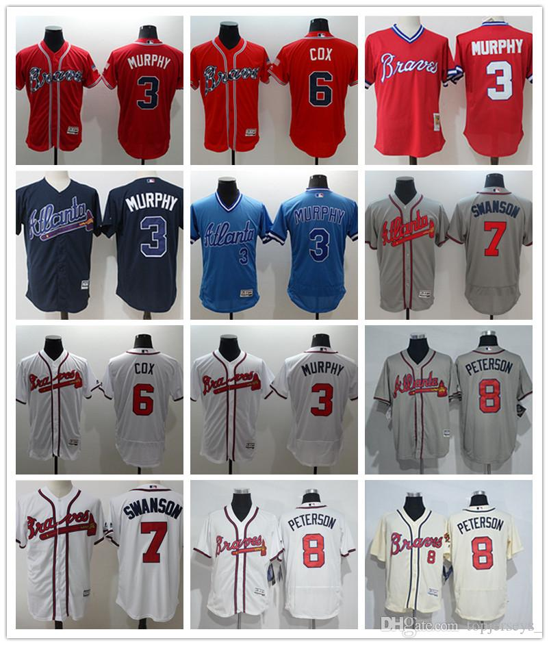 Custom Men s Women Youth Atlanta Braves Jersey  3 Dale Murphy 6 Bobby Cox 7  Dansby Swanson Home Blue Red Baseball Jerseys Los Angeles Dodgers Baseball  ... c24c37354