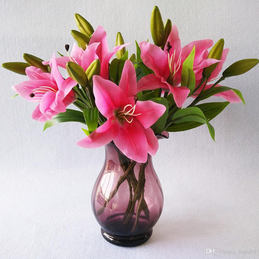 3 Kafaları Renkli Yapay Zambak Çiçek Buketi Sahte Çiçekler Gelin Çiçek Düğün Çelenk Dekorasyon Düğün Dekorasyon