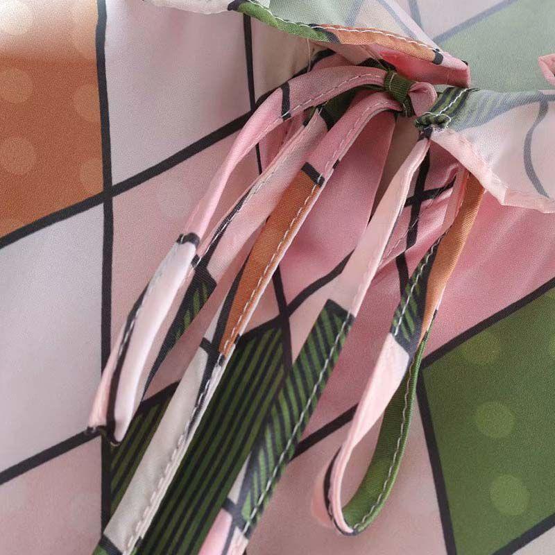 Frauen elegante geometrische Druck gekräuselte Bluse gekräuselten Kragen lange Glocke Ärmel Shirts weibliche süße Sommer Tops Blusas