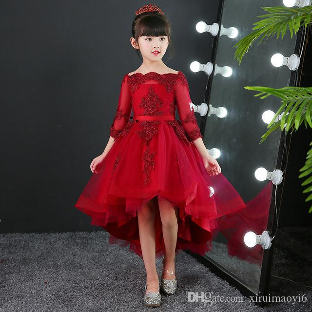 23c49341bb769 2019 2018 Glizt Girls Red Lace Wedding Dresses Long Trailing Bead Lace Party  Princess Birthday Dress First Communion Gown For Kids 1T 14T From  Xiruimaoyi6, ...