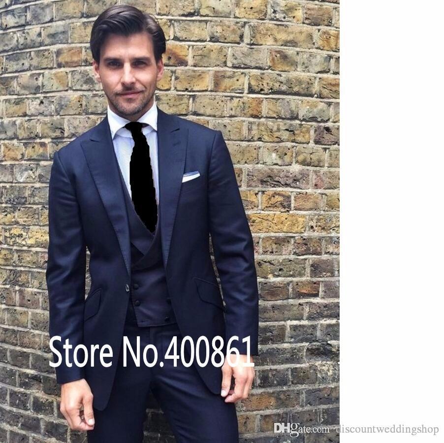 Üst Tasarım Damat Smokin Bir Düğme Lacivert Tepe Yaka Groomsmen Best Man Suit Düğün Mens Suits Ceket + Pantolon + Yelek + Kravat J403