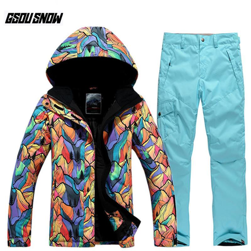 0faefa4f4d 2019 GSOU SNOW Brand Ski Suit Women Ski Jackets Snowboard Pants Female  Skiing Snowboarding Suits Winter Outdoor Waterproof Snow Coats From  Dragonfruit