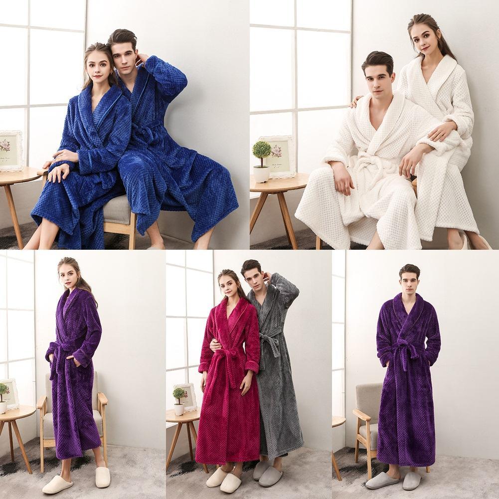 0c7d50d6e0 Thicken Flannel Couple Nightgown Men Women Flannel Bathrobe Autumn Winter  With Sash Robe Winter Sleepwear Nightgow Home Wear UK 2019 From Yujian18