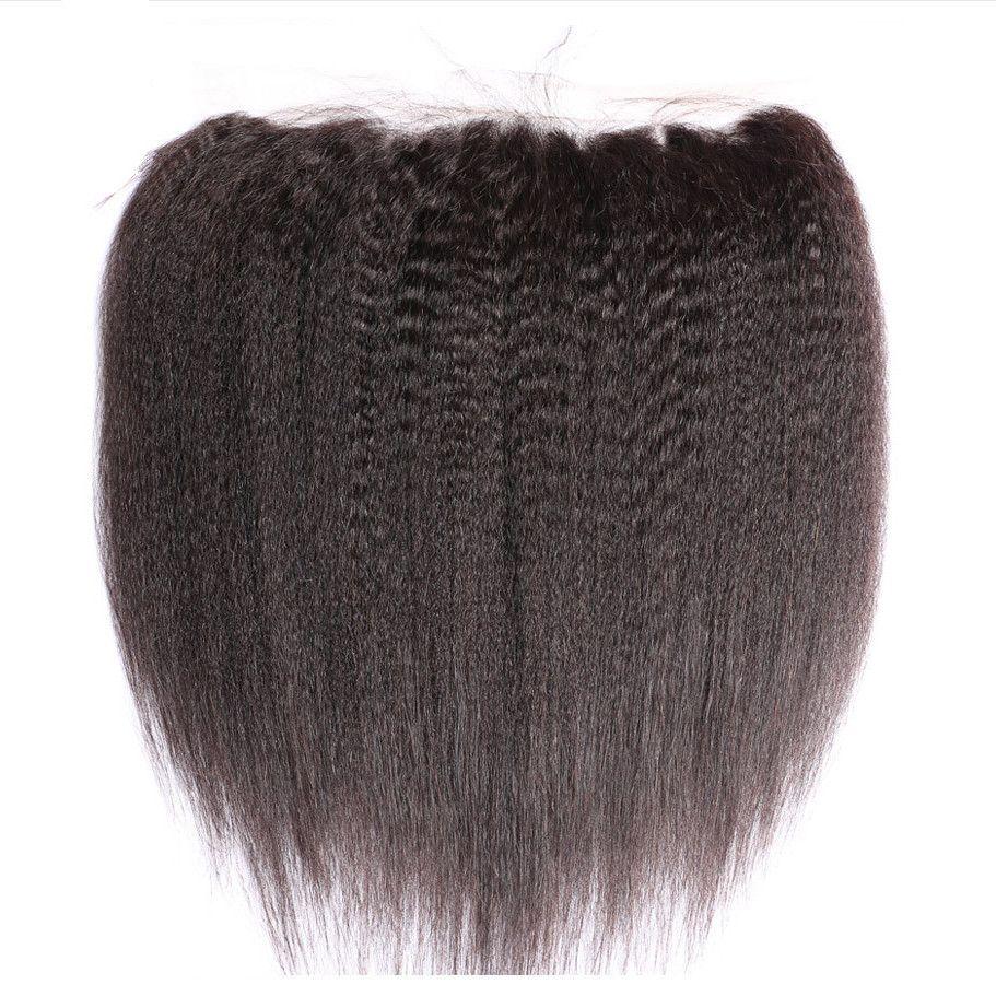 Crépus Droite Armure de Cheveux Humains Avec Dentelle Frontale Grand Yaki Extension de Cheveux 3 Faisceaux Avec Dentelle Frontale /