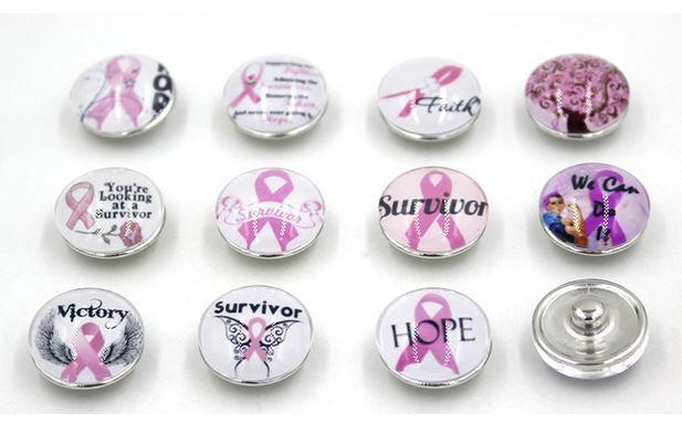 Freies Verschiffen-Rosa-Band-Brustkrebs-Bewusstseins-Knöpfe klumpige 18mm DIY klemmt austauschbaren Knopf für Schnellarmband-Ring-Schmucksachen