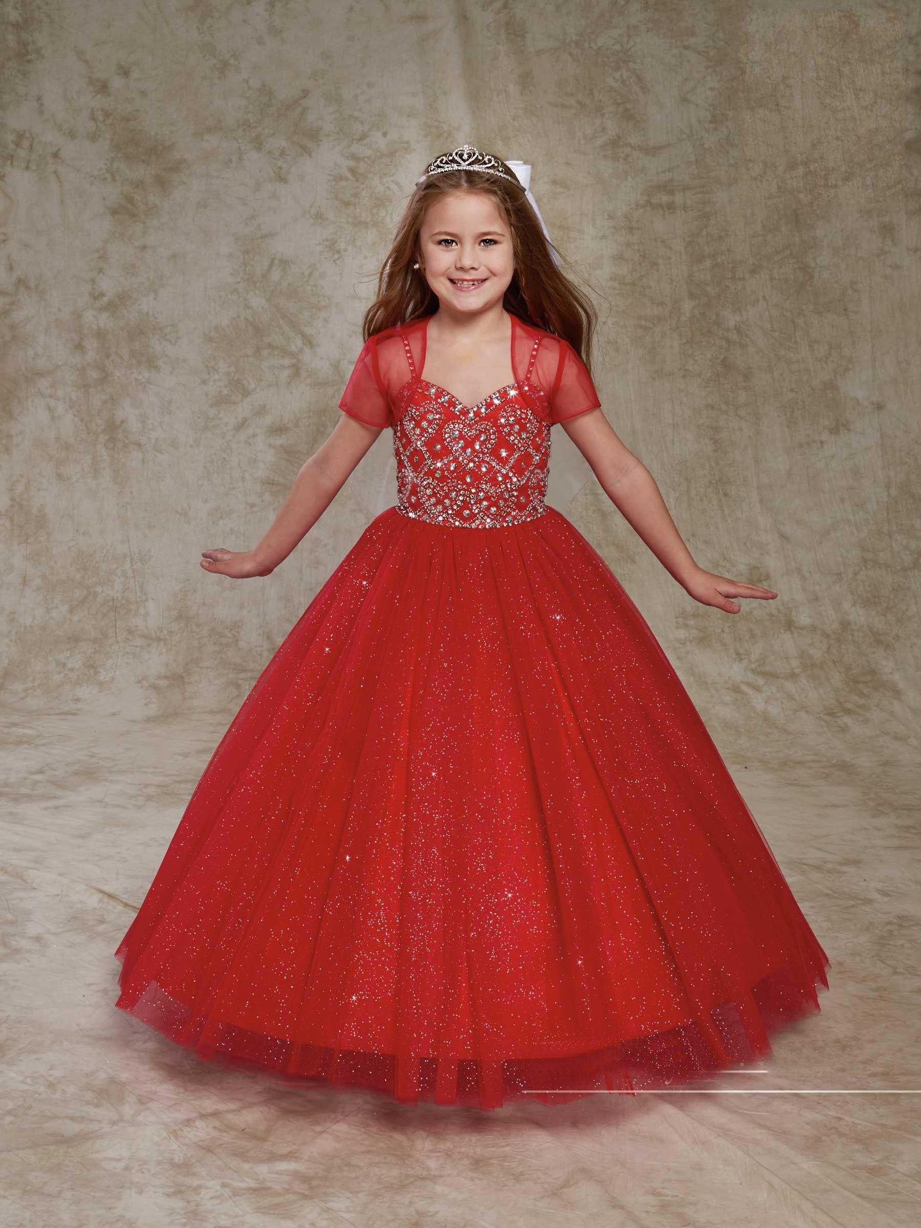 0c699544e Pretty Red White Tulle Straps Beads Flower Girl Dresses Girls ...