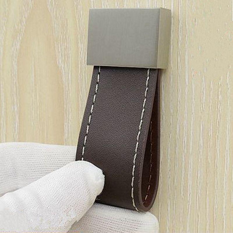 2018 Hardware Leather Handle Zinc Alloy Coffee Wardrobe Handle ...