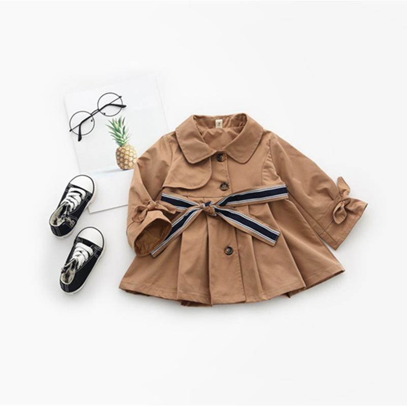 caa236d86 2018 Newborn Baby Girls Khaki Mid Length Trench With Belt Spring ...