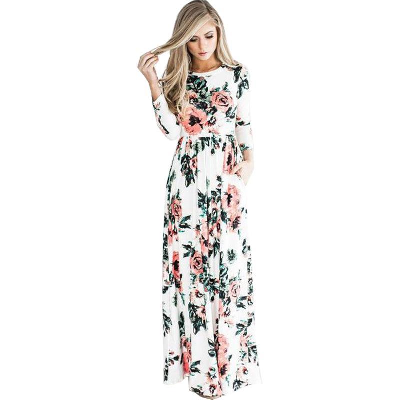 e5091d8dc6a Acheter 2018 Nouvelle Robe Longue Femme Printemps / Eté Manches Longues  Doux Taille Élastique Imprimé Fleurs Robes Femmes OYM0320 De $26.31 Du  Finebeautyone ...