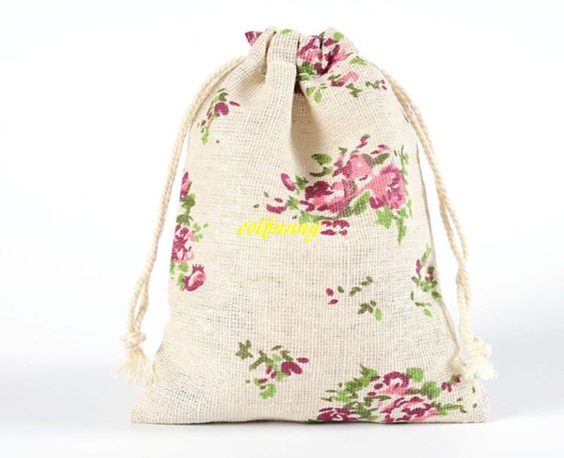 / liberano il trasporto 10 * 14cm sacchetto del regalo dei monili di cerimonia nuziale cotone stampato borsa con coulisse shopping bags piccolo sacchetto i bambini