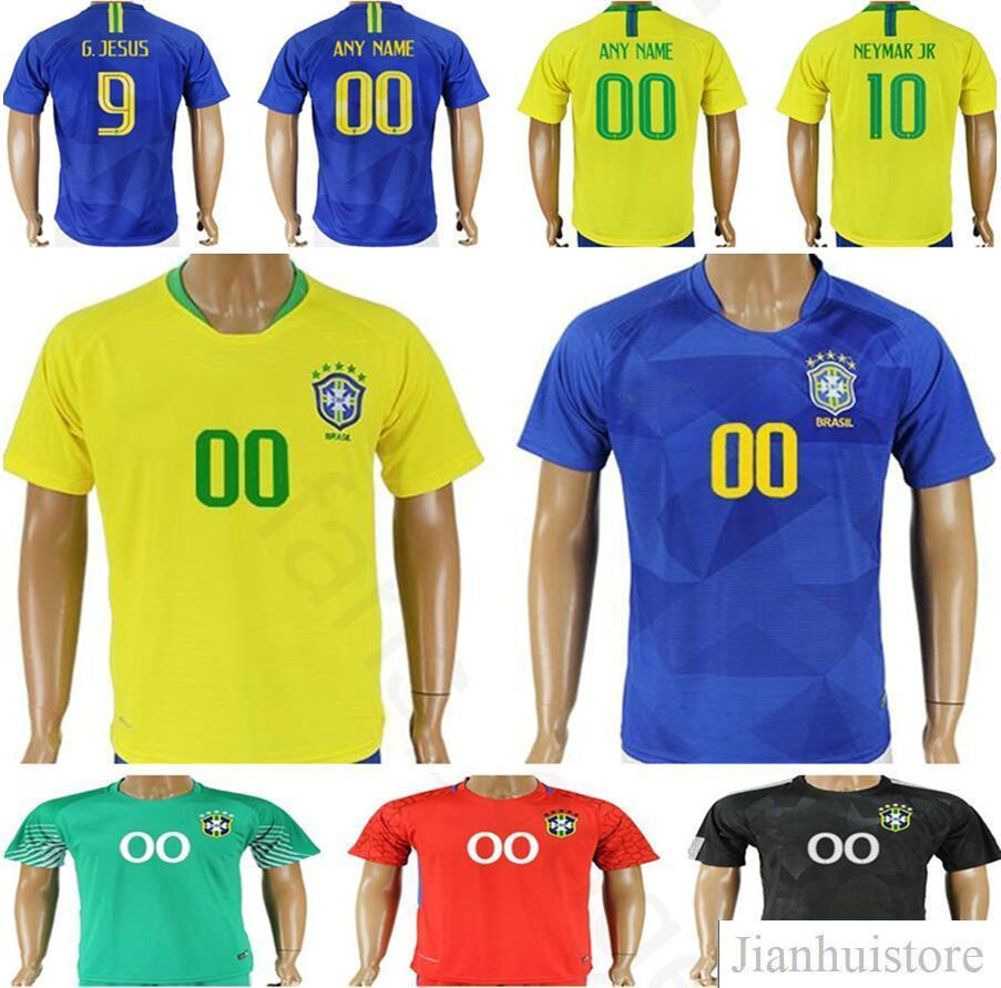 acae8fe15 ... 2018 brazil soccer jersey 10 neymar jr pele 9 g.jesus marcelo  ronaldinho coutonho r