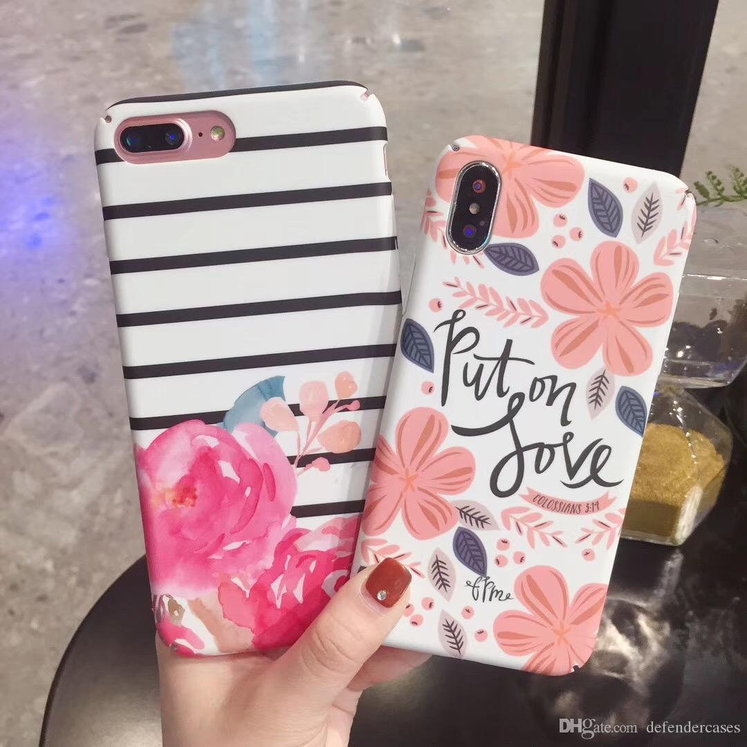 Fashion Luxury Lotus Flower Leaf Hard Pc Cases For Iphone X 8 7 6 6s