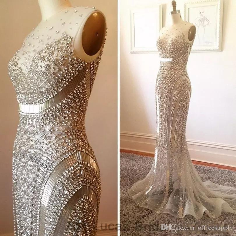 Arabic Luxury Beaded Rhinestones Mermaid Dresses Evening Wear Formal Gowns For Party Prom Dresses Custom Made