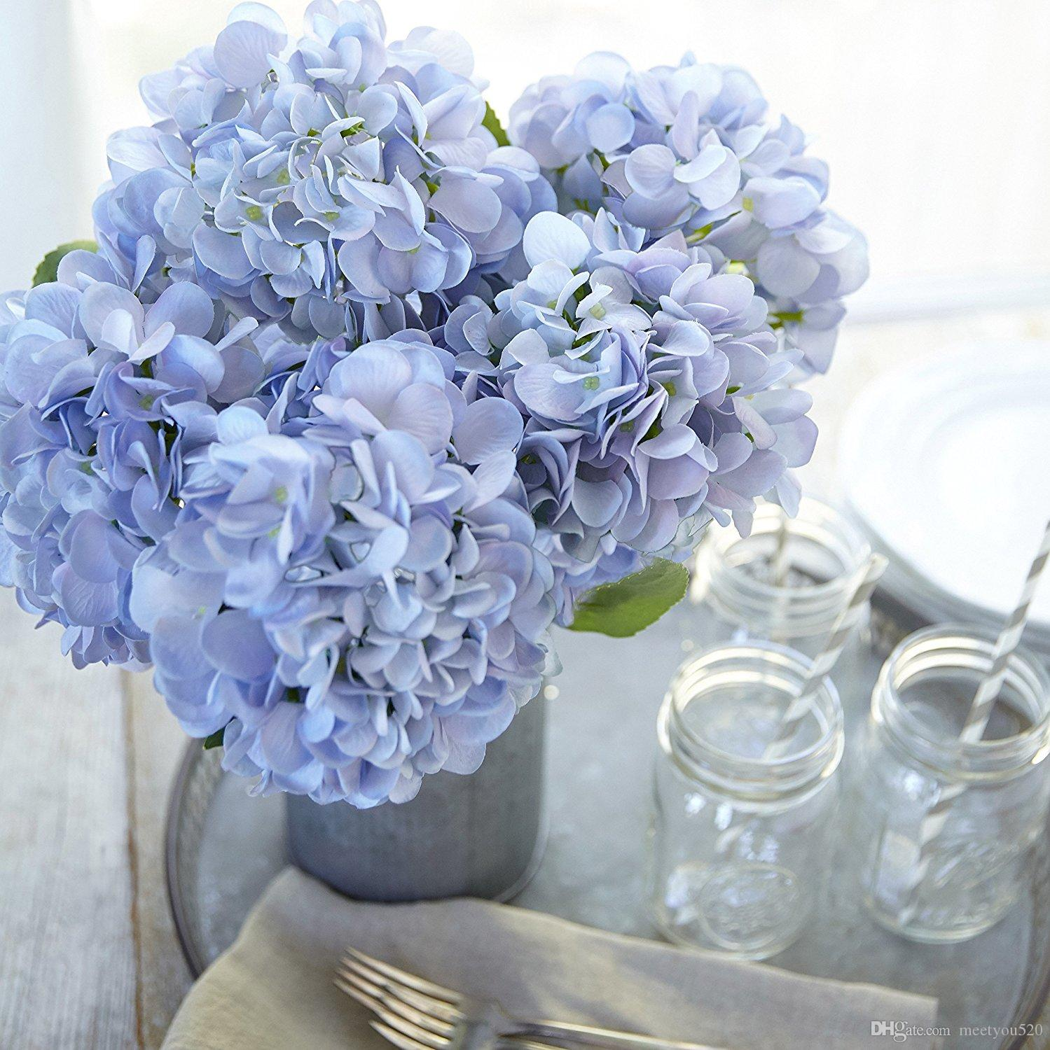 2018 artificial hydrangea silk flowers for wedding bouquet flower 2018 artificial hydrangea silk flowers for wedding bouquet flower arrangements blue color 5 stems bundle from meetyou520 2758 dhgate mightylinksfo