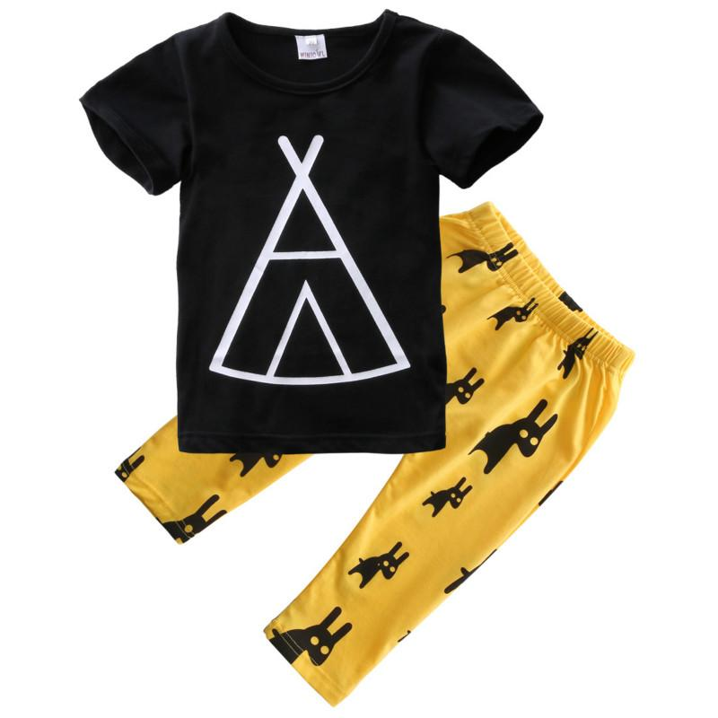 ac5c75ca05c33 0-5Y Toddler Kids Boy Girl Clothes Summer Short Sleeve Cotton T-shirt  Tops+Yellow Pant Legging 2PCS Children Clothing Set