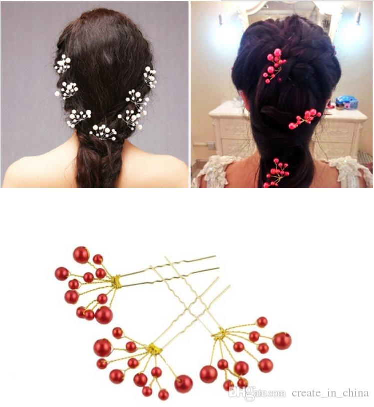 Three style Bridal Hair Accessories New Fashion Hair pins Pearl Beaded Crystal Rhinestone Hairpin Flower Hair clips Stick Wedding Headpiece