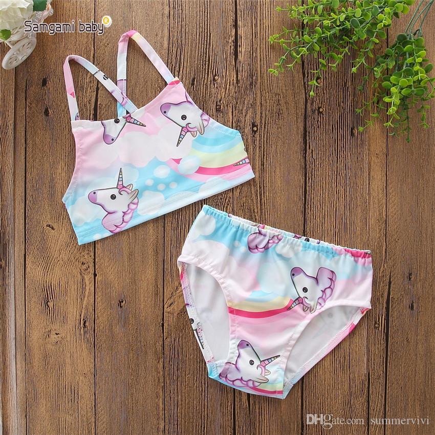Unicorn Girls swimwear INS children bikini swimming kids horse rainbow printed split swimsuits children spa beach bathing suit Y7009