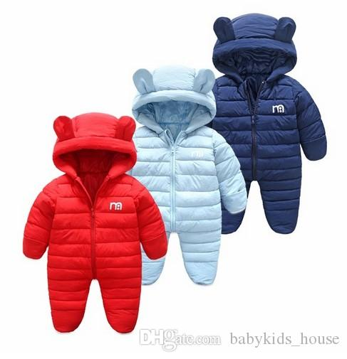 ca7fa710b5ea 2019 Winter Baby Jumpsuit Solid Warm Boys Snowsuit For Children ...