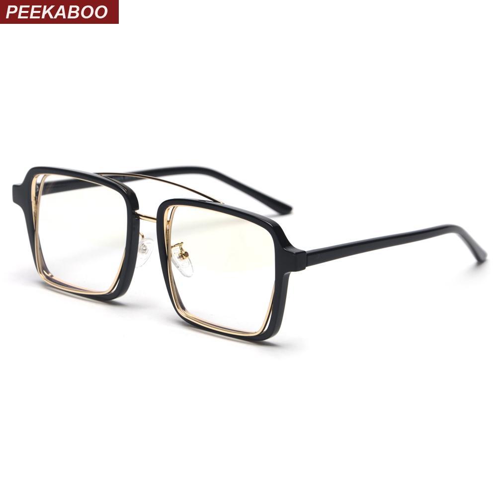 6ca0af58274 Peekaboo Black Square Frame Glasses for Men Vintage 2019 Clear Lens ...