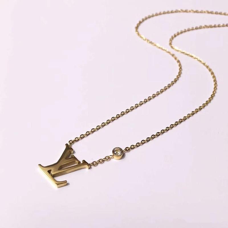 6568ced98a41 Diseño de Marca de moda Joyería 316L Titanio Acero 18 K Oro Rosa Plateado  Collar de Cadena Corta Collar de Plata Colgante para Pareja Regalo