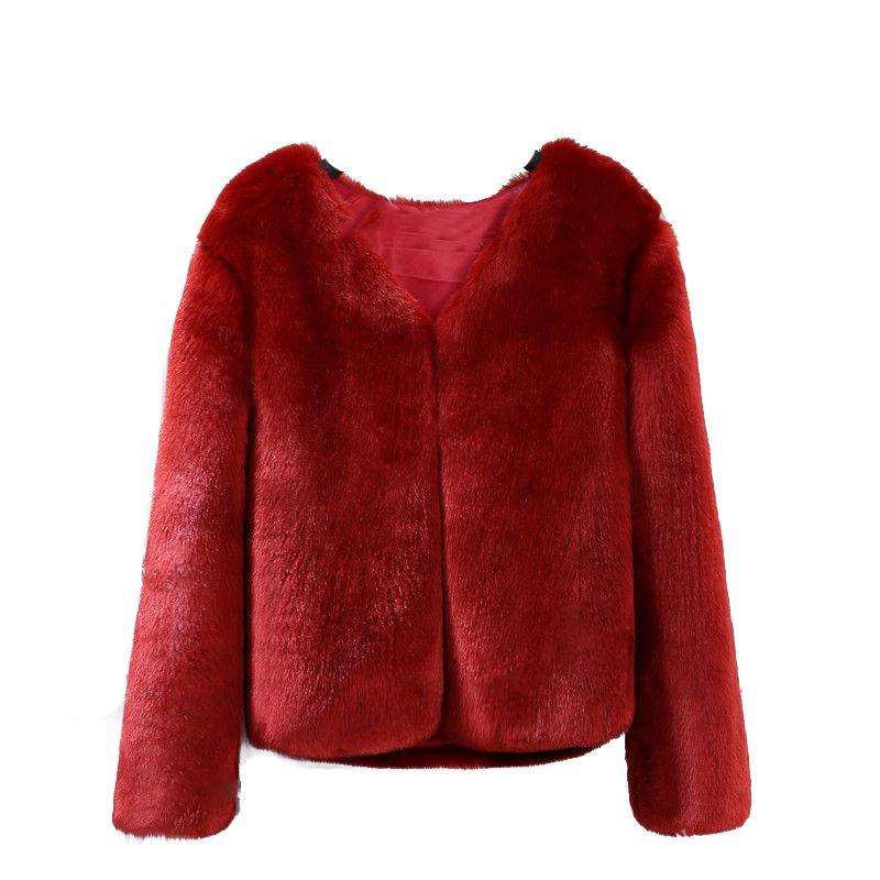 Hiver Femmes Manteau En Fausse Fourrure Cheveux Moelleux Solide Noir Blanc Vert Rose Vin Rouge Plus La Taille 3XL Street lady fourrure Veste SWQ0364-45