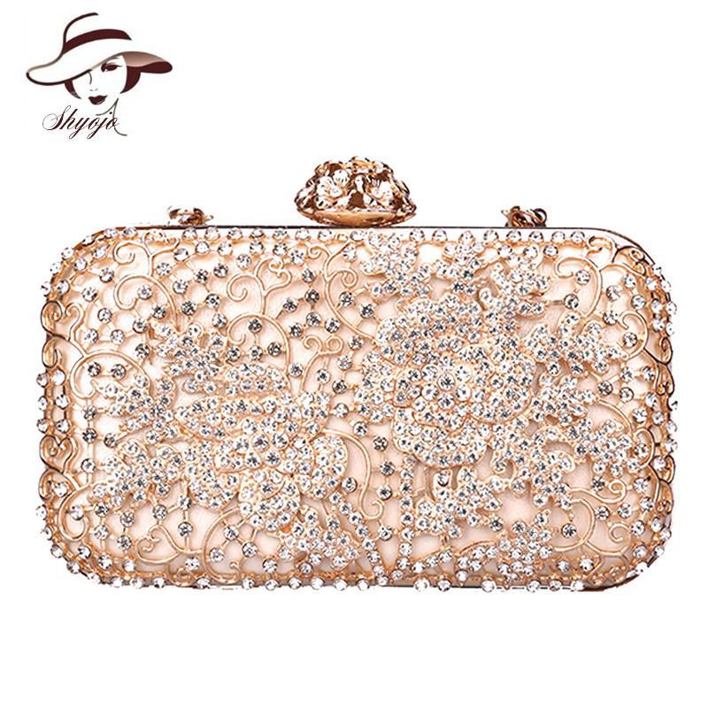 0da3b9d6417 Compre Diamond Flower Fashion Hollow Out Bolsos De Noche Acrílico Embrague  Mujeres Bolso De Hombro De Lujo Del Partido De La Boda Messenger Bolsos De  Mano A ...