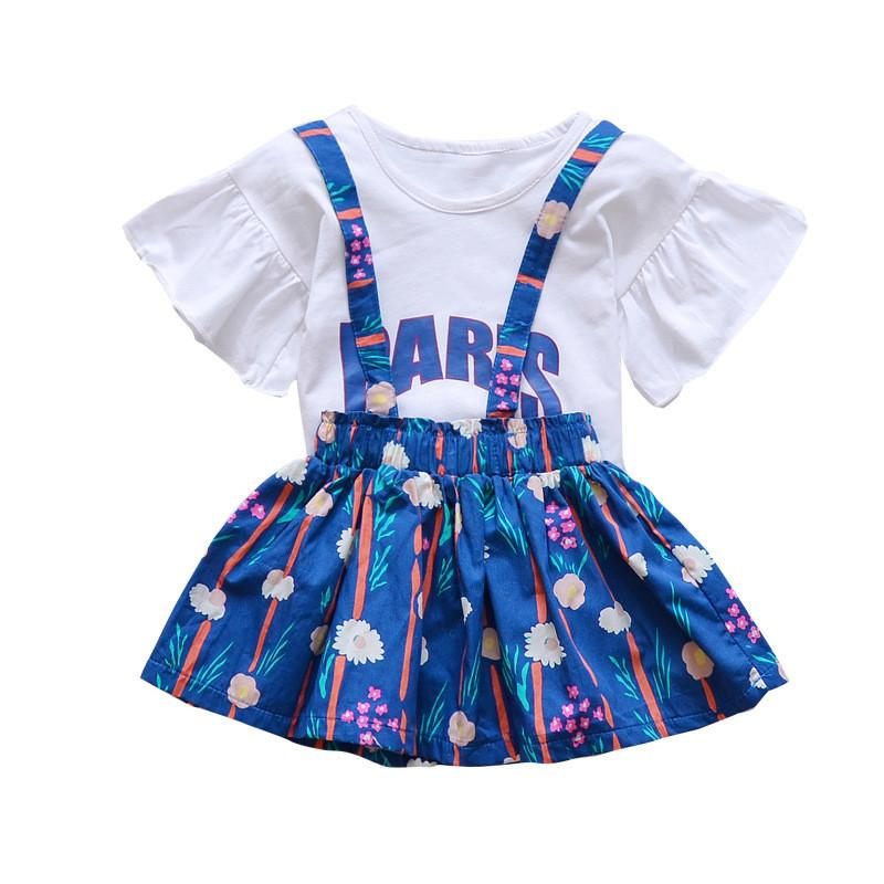 331aa2f378b 2019 Kids Clothes Suit Sets Flare Sleeve White T Shirt Tops+ Floral Print  Suspender Skirt Toddler Girls Summer Clothing Set From Coolhi
