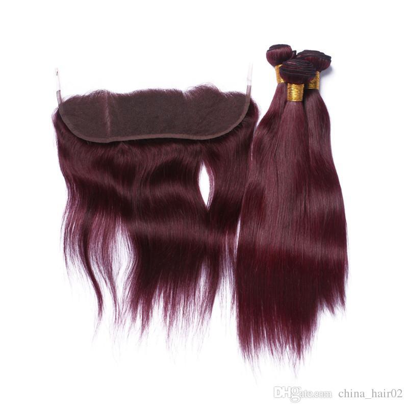 العذراء الماليزي الإنسان الشعر نسج حزم مع إغلاق أمامي مستقيم # 99J النبيذ الأحمر شعرة الإنسان ينسج مع 13x4 يشبع أمامي