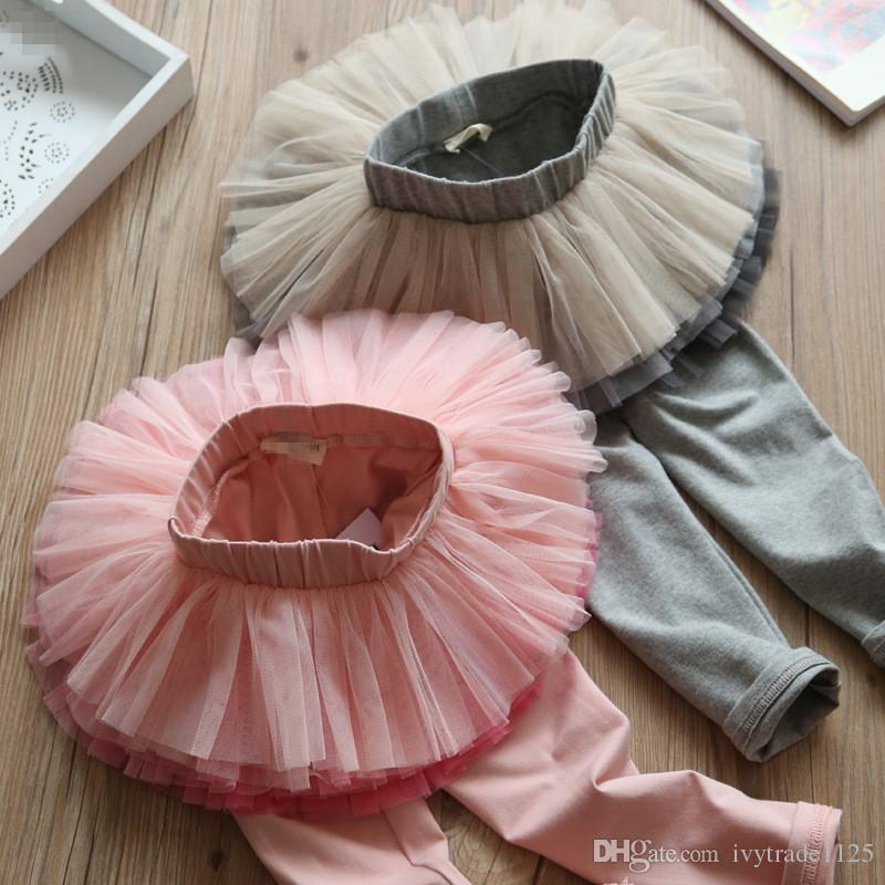 2 color INS new baby kids clothing spring fall girl tutu mesh pant sweet pants baby girl clothing