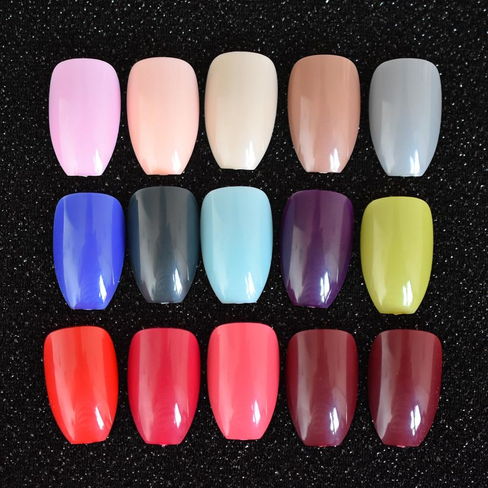 So Many Colors Ballerina Fake Nails Simple Design Dark Color Coffin