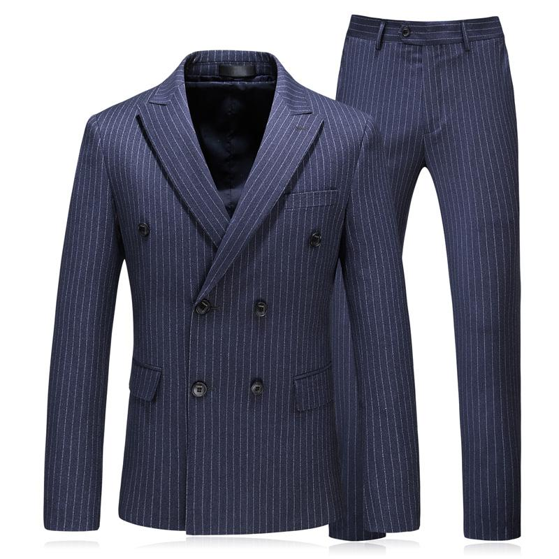 a045de36a016 2019 2018 New Fashion Double Breasted Striped Mens Italian Suit Plus Size  5XL Mens Classic Suits Designer Clothes From Houmian