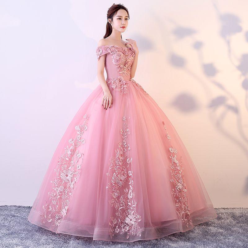 Rosa Quinceanera Kleider 2018 Ballkleid Ballkleider Sweet 16 Birthday Party Dress Debütantin Masquerade Formale Abendkleider