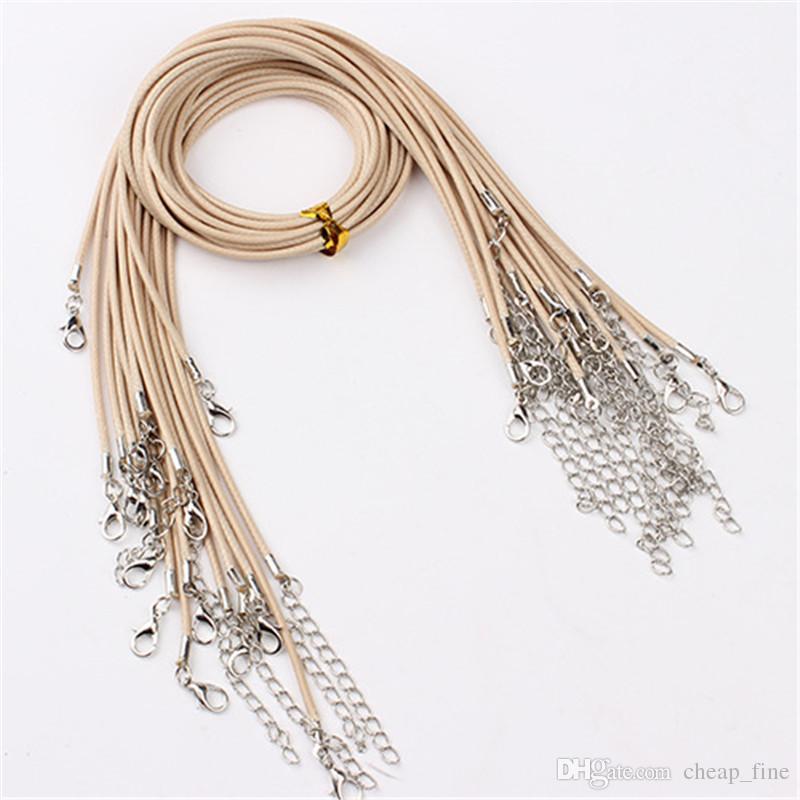 20 unids / lote corchetes de langosta cuerda de cuero collar diámetro 1.5 mm algodón coreano encerado hilo collares moda joyería de bricolaje es al por mayor