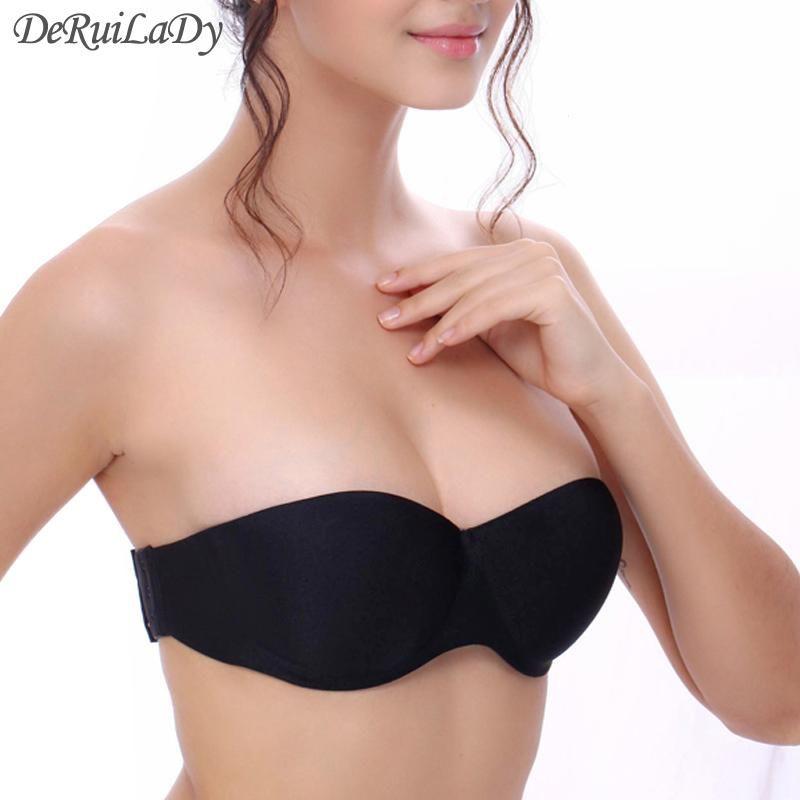 305a84e22ec98 2019 Wholesale DeRuiLaDy Fashion Strapless Bras Seamless Push Up Bras Half  Cup Underwire Back Closure Women Underwear Invisible Bra From Seten