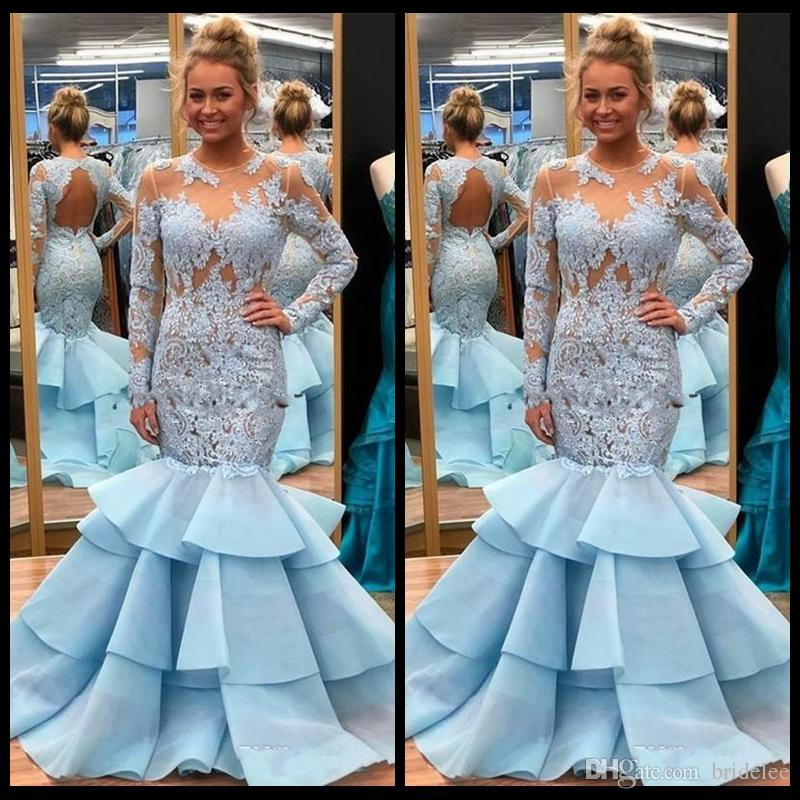 7946a600b615 Chic Sky Blue Mermaid Prom Dresses 2019 See Though Lace Applique Long  Sleeve Hollow Back Arabic Tiered Ruffles Plus Size Party Evening Gowns Prom  Dress ...