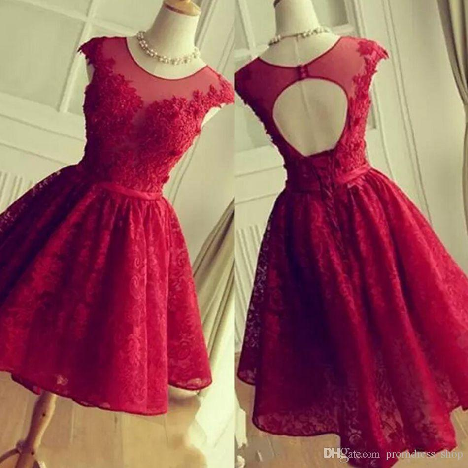 1d986191353c5 Sheer Jewel Neck Dark Red Homecoming Dresses 2019 New Lace Up Back A Line  Halter Neck Mini Short Cocktail Graduation Gowns For Juniors White Long  Dress ...