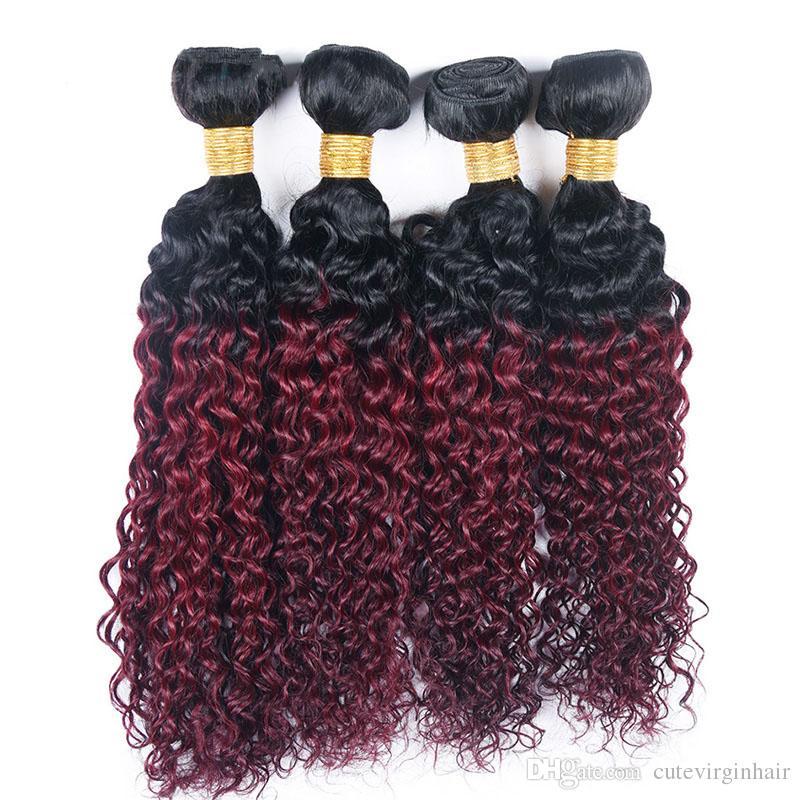 Não transformados 1B / 99J Ombre Weave 4 Bundles Kinky Curly Cabelo Virgem Brasileiro Vinho Tinto Tramas de Cabelo Vermelho 10 - 26 Polegada Cabelo Humano Tece Extensão