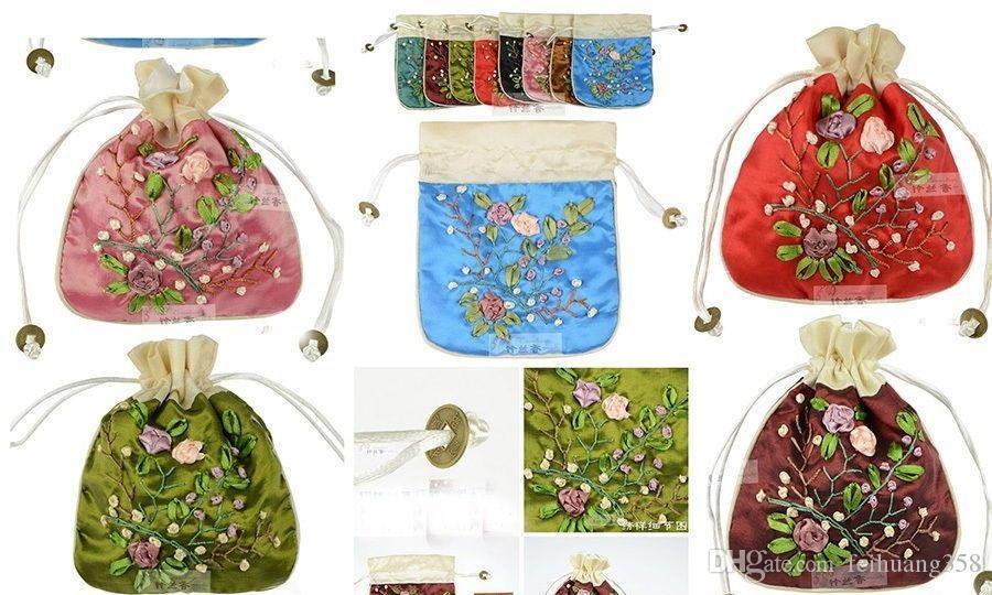 WholesaleÇin El Yapımı Işlemeli Ipek Hediye Çantaları Jewerly Kılıfı