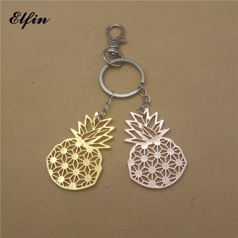 Elfin Origami Pineapple Keychains Gold Color Silver Color Summer