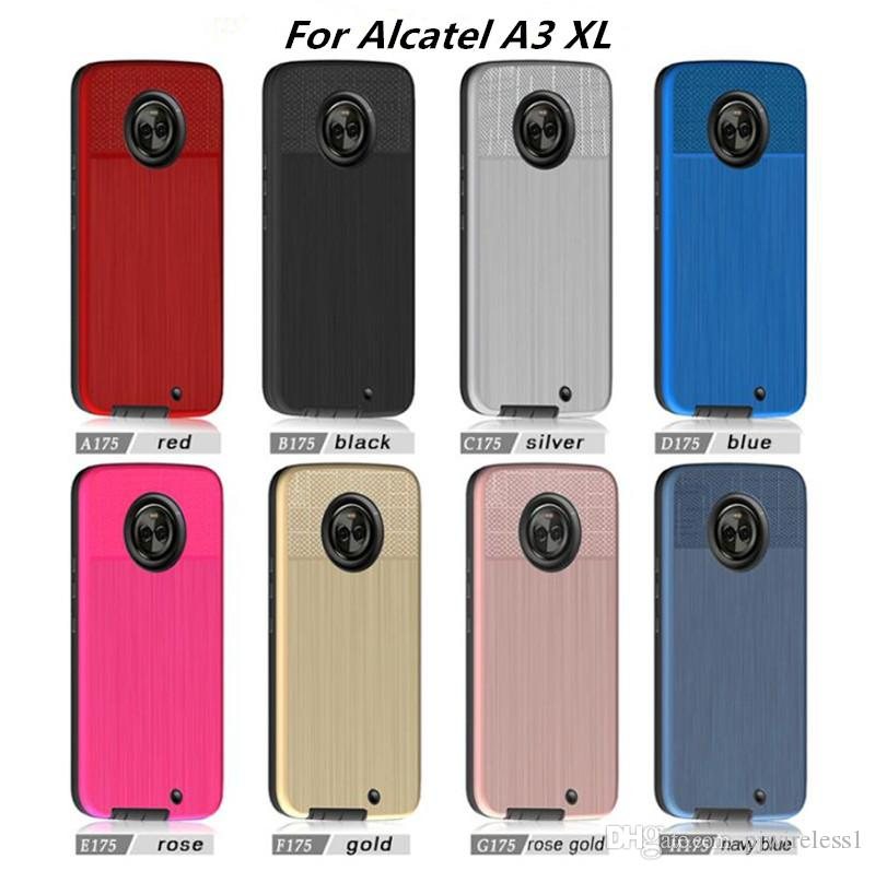 low priced 05260 2f9b7 Hybrid Armor Case For Alcatel A3 XL For Alcatel U5 4047 For Alcatel 5010  Brushed phone Case with opp bags C