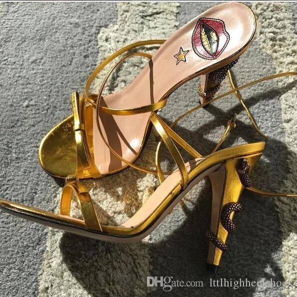 Classic Hot design Sexy snake stiletto heels bow-tie Open Toe Sandals Gold Black Pink Green Strap High Heels Dress Sandals Brand