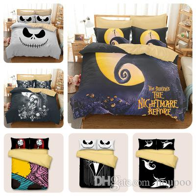 Bulk Lots 6 Styles Halloween Skull 3D Printed Twin~King Size Bedding Sets Bed Sheets Queen Bedding Sets King Size Comforter Set