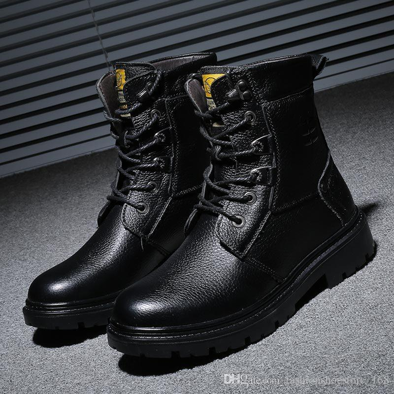 04cc3f48935 Compre Botas De Invierno De Cuero Genuino Hombres Botas Militares Hombres  Motocicleta Montar Caza Caminar Casual Zapatos De Invierno Diseñador Botas  Hombre ...