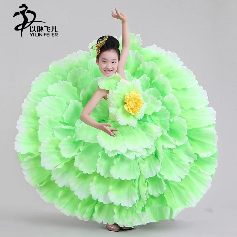 Acquista Vestito Di Espansione Del Costume Di Ballo Di Flamenco Dei Bambini    Vestito Moderno Di Flamenco Di Usura Del Pannello Esterno Del Petalo Di  ... ae86b40ed4f